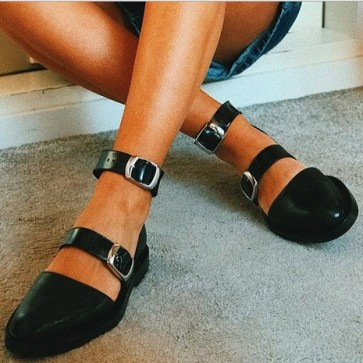Women's Flat Heel Pump Shoes Closed Toe Ankle With Buckle