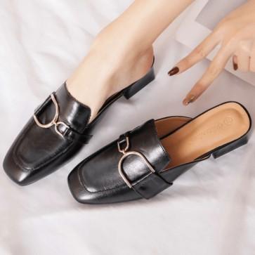 Women's PU Chunky Heel Closed Toe Shoes
