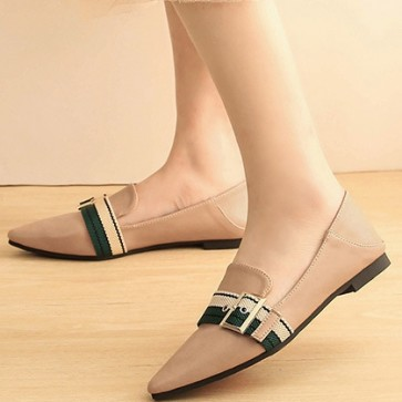 Women's PU Flat Heel Pointed Closed Toe Shoes