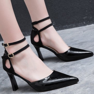 Women's Stiletto Heel Sandals Pumps Closed Toe With Double Buckles