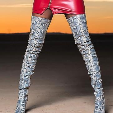 Women's Stiletto Heel Snakeskin Print Over The Knee Boots