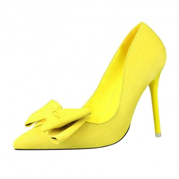 Yellow Fashion Women's Suede Stiletto Heels