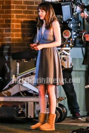 アナスタシアスティールのダークグレーの床の長さの深いVネック「グレーの50の色合い」卒業ドレス