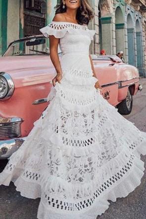 Off Shoulder Layered Ruffle Dress