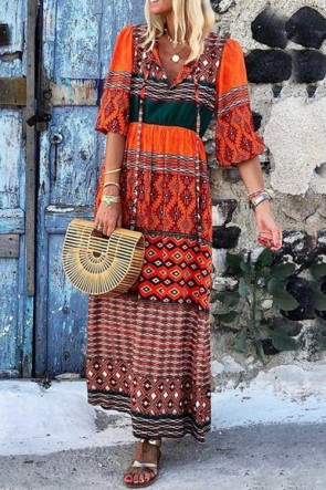 V-Neck Geometric Printed Maxi Dress