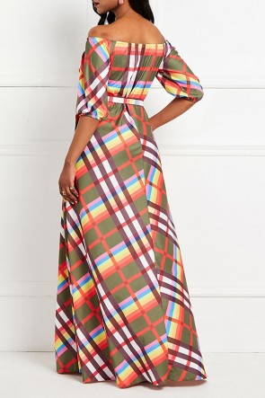 Plaid Sashes Half Sleeves Wrap Dress