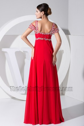 New Style Red Chiffon Formal Dress Prom Dresses With Beading