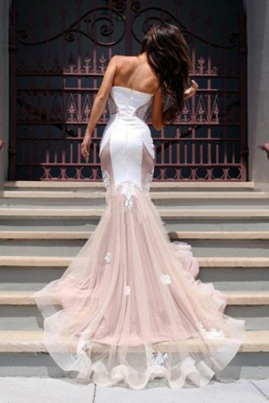 Sweetheart Strapless Applique Mermaid Prom Dress