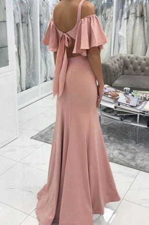 Elegant Pink V-neck Off-the-shoulder Mermaid Evening Dress