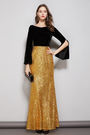 Black And Gold Two Tones Floor Length Prom Dress With Long Sleeves