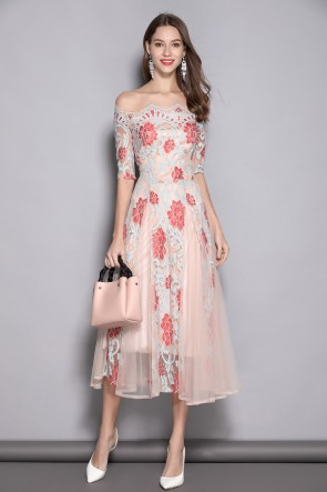 Lace A-line 1/2 Sleeves Off-the-shoulder Prom Dress