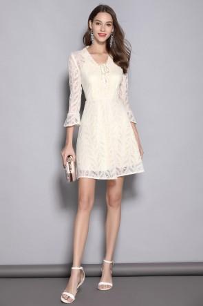 Short/Mini A-line Long Sleeves Ivory Homecoming Dress
