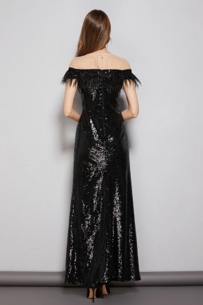 Black Sheath Sequins Floor Length Prom Evening Dress TCDTB8590