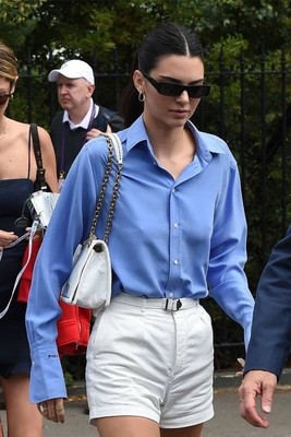 Kendall Jenner Single Breasted Blue Shirt