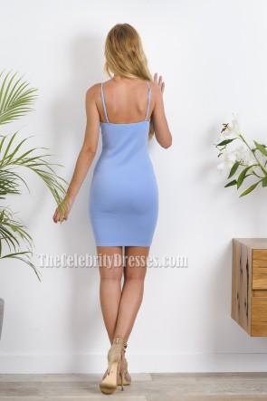 Girls Sky Blue Short Mini Party Dress Spaghetti Straps Sexy Cocktail Dress  TCDTB6218