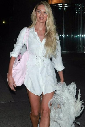 Candice Swanepoel White Shirt Dress