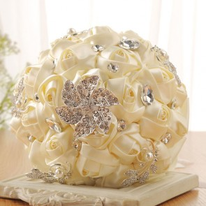Luxury Beaded Round Satin Bridal Bouquets
