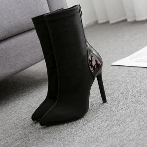 Pointed Toe Stiletto Heels Boots For Women With Zipper