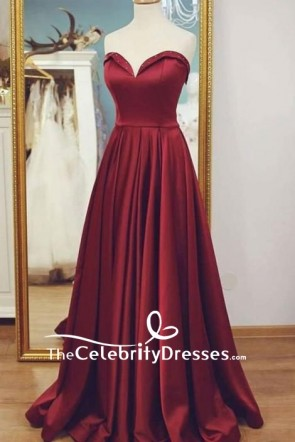 Red Strapless Sweteheart A-line Long Prom Dress