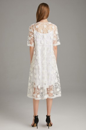 Lace White See-Through Homecoming Dress With 1/2 Sleeves TCDTB8579