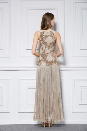 Gorgeous Champagne Sleeveless Sequined Tassel Evening Formal Dress TCDBF445