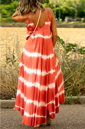 Sleeveless Print Tie Dye Maxi Dress