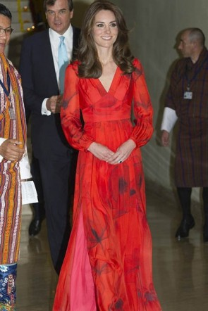 Kate Middleton Red Poppy Floral Fashion Dress With Sleeves Royal tour of India and Bhutan