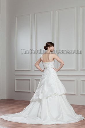 A-Line Strapless Sweetheart Chapel Train Wedding Dresses