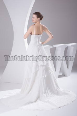 A-Line V-Neck Chapel Train Wedding Dress Bridal Gown