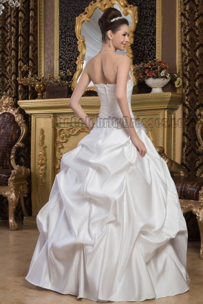 Ball Gown Floor Length Strapless Embroidered Wedding Dresses