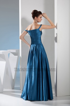 Blue Off-the-Shoulder A-Line Formal Dress Evening Prom Gown