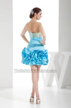 Blue Short Mini Embroidery Strapless Homecoming Party Dresses