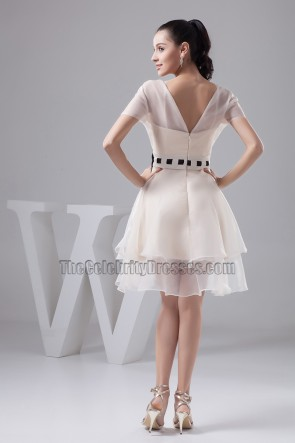 Cap Sleeves V-Neck A-Line Cocktail Party Graduation Dress