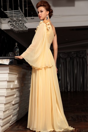 Celebrity Inspired One Sleeve Chiffon Formal Dress Evening Gown