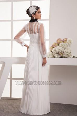 Long Sleeve A-Line High Neck Prom Gown Evening Dress