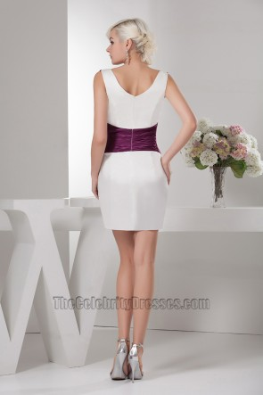 Short Mini White And Purple Party Graduation Homecoming Dresses