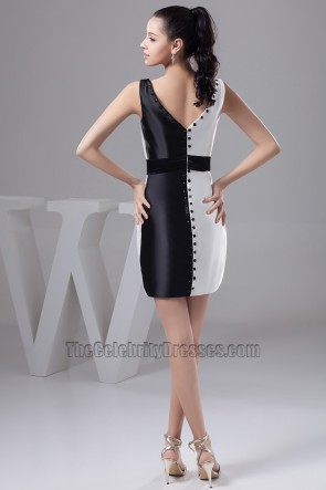 Chic White And Black V-Neck Graduation Cocktail Dresses