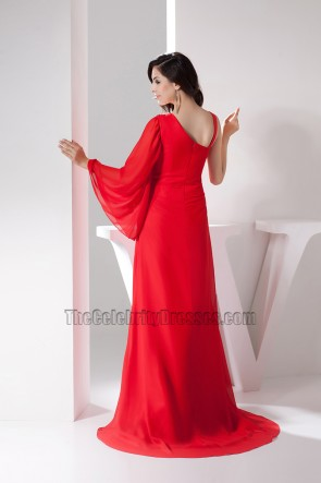 Classic Red One Sleeve A-Line Formal Dress Prom Gown
