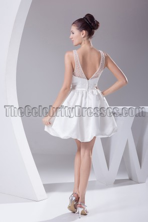 Cute Mini White A-Line V-Neck Party Homecoming Dresses