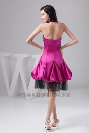 Purple Halter Knee Length Cocktail Graduation Party Dress