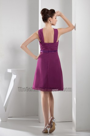 Discount Short Purple Chiffon A-Line Party Cocktail Dresses