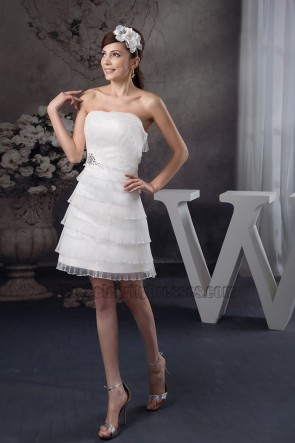 Discount Strapless Organza Ruffles Party Short Wedding Dress