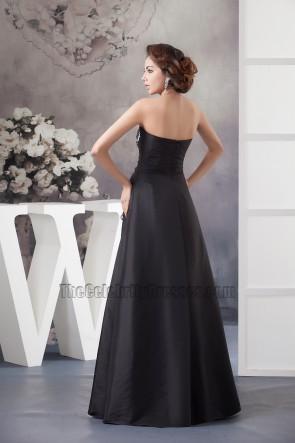 Elegant Black Strapless Embroidered Formal Dress Prom Gown