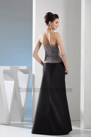 Elegant Long Gray And Black Strapless Formal Dress Prom Gown
