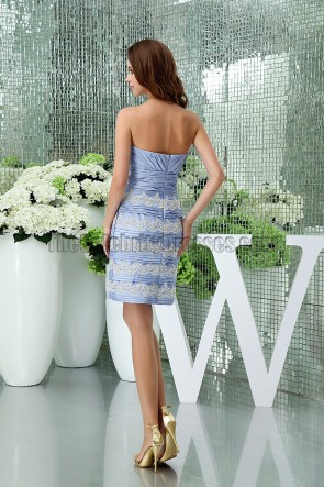Elegant Short Strapless Sweetheart Lavender Cocktail Dress With A Wrap