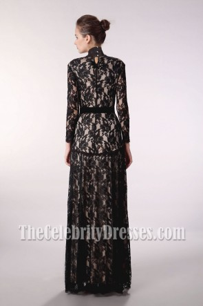 Floor Length Black Lace V-Neck Long Sleeve Evening Prom Dress