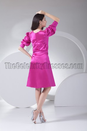 Chic Fuchsia Knee Length Cocktail Party Graduation Dresses