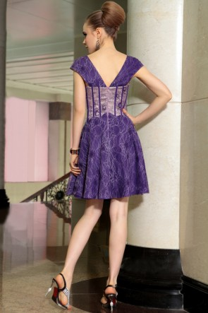 Cap Sleeves Purple Party Homecoming Graduation Dresses