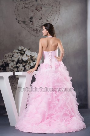 Pink A-Line Ruffles Formal Dress Evening Pageant Gown