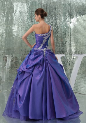 Gorgeous Regency Ball Gown One Shoulder Quinceanera Dresses